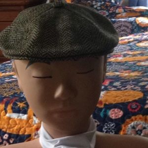 KANGOL ENGLISH TWEED NEWSBOY FLAT CAP GREEN WOOL